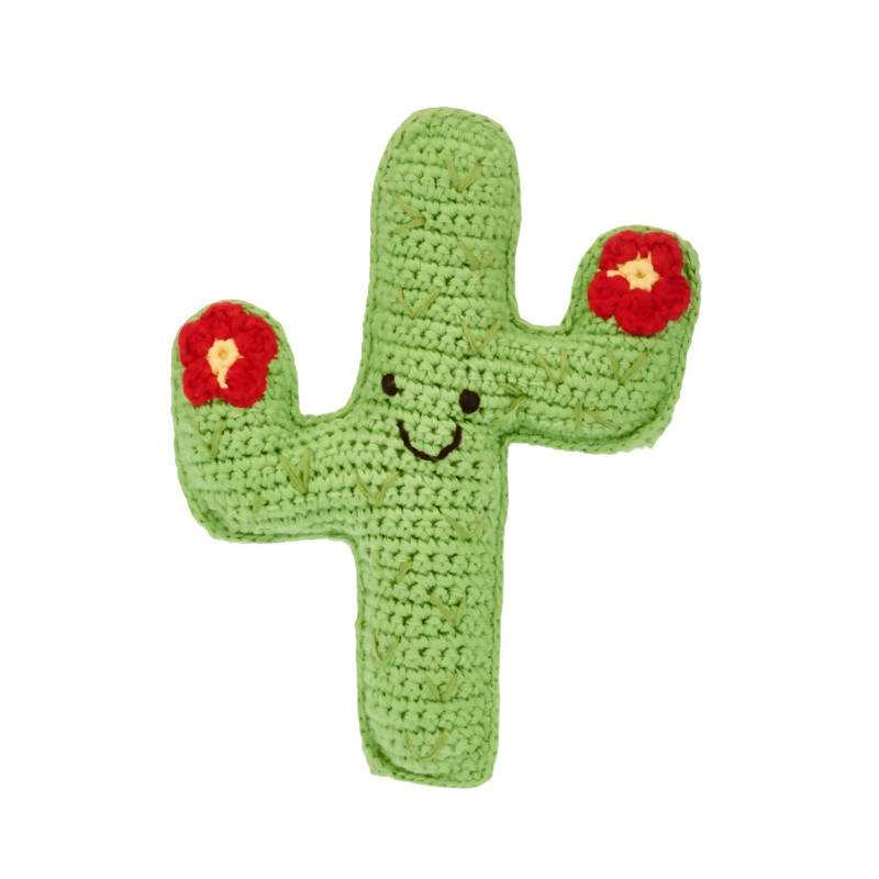 Crochet Cactus Baby Rattle with red flowers on hands