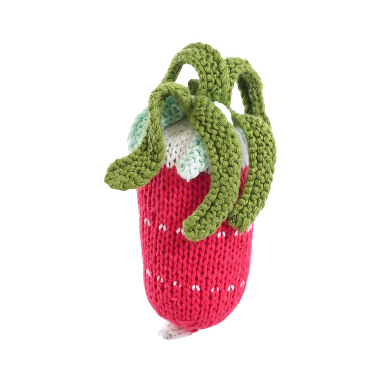 Red and Green Knitted Radish Rattle