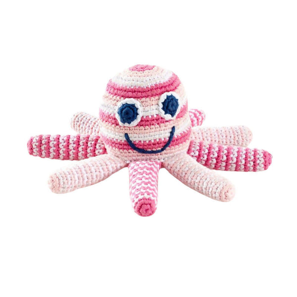 Crochet Cotton Octopus in Pale Pink Stripes