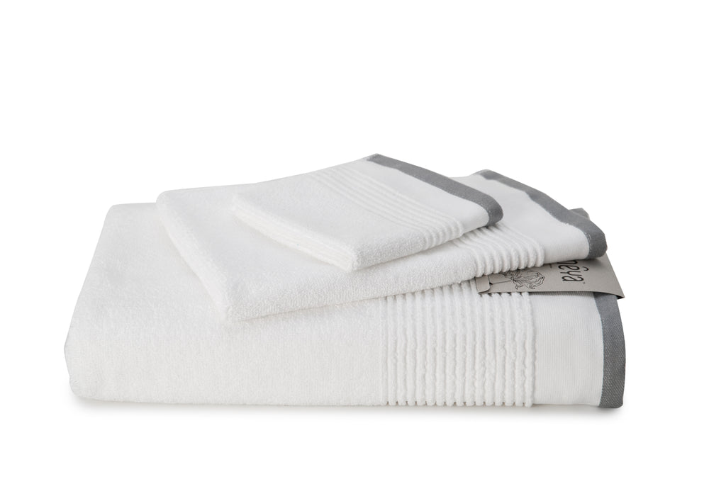 Pure White/Grey / Face Towel
