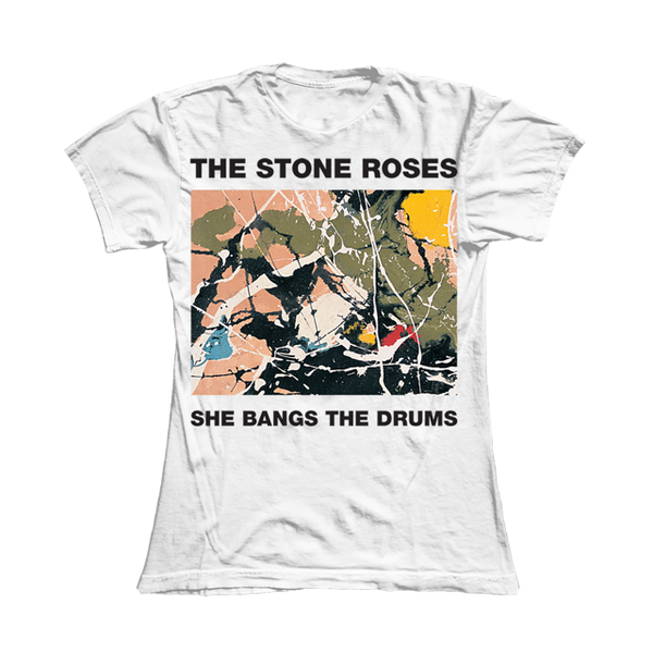 SHE BANGS THE DRUMS WHITE T-SHIRT