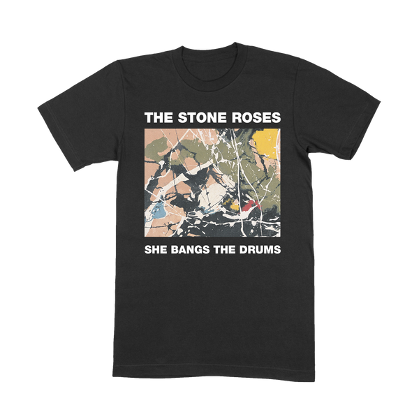 SHE BANGS THE DRUMS BLACK T-SHIRT