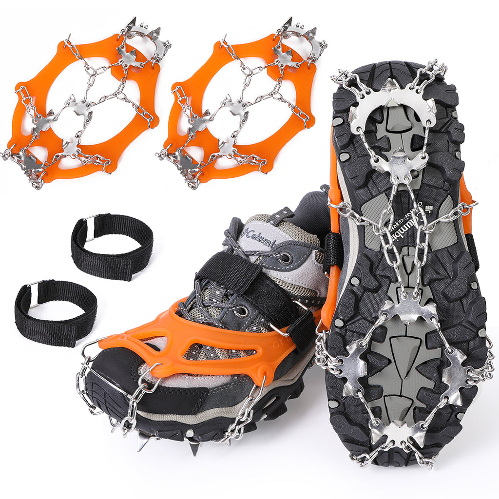Lixada Ice Crampons 19 Teeth Stainless Steel Ice Snow Grips Ice Spikes Traction Cleats for Winter Skiing Skating Ice Snow Hiking Climbing