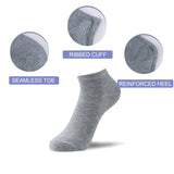 No Show Low Cut Socks for Men and Women, White/Grey/Black, 12 Pack - Vihir