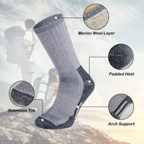 Merino Wool Hiking and Trekking Socks For Outdoor Athletic Exercise Hunting Fall Winter Warm Breathable, Men's,2 Pack - Vihir