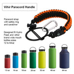 Vihir Paracord Handle fit Hydro Flask Paracord Survival Strap with Safety Ring and Carabiner for Wide Mouth Water Bottle, Multi-Color Optional - Vihir