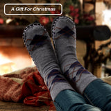 Vihir Men's Winter Knitted Non-Skid Home Warm Slipper Socks Indoor Floor Stocking House Shoes - Vihir