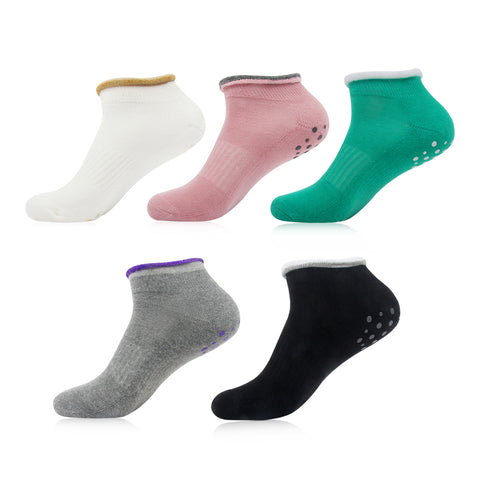 Women's Non Slip Yoga Socks-Cotton Barre Pilates Low Cut Socks with Grips, 5 Pack - Vihir