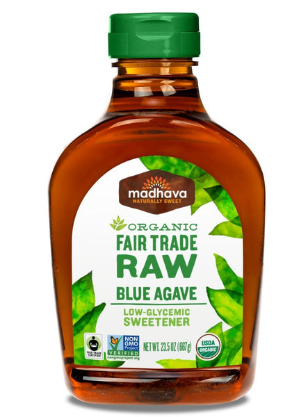 Raw organic agave blue nectar for Front of bottle.