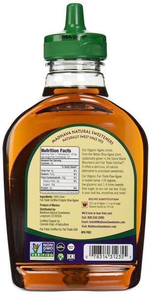 Organic agave syrup back of bottle