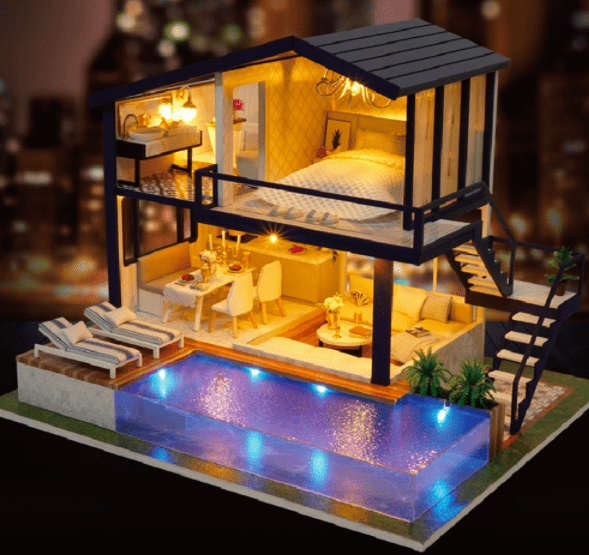 DIY Miniature Dollhouse Wooden Kit with Furniture