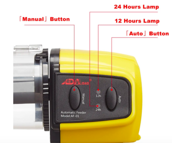 Fish food dispenser button controls manual and auto