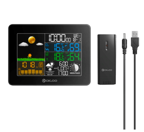 Home weather station, remote outdoor sensor and USB power cable.