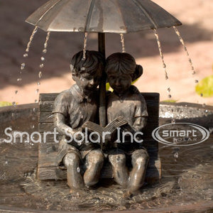 Smart Solar Umbrella Boy & Girl Reading on Bench Solar Bird Bath Fountain - WaterCheck.biz  - 3