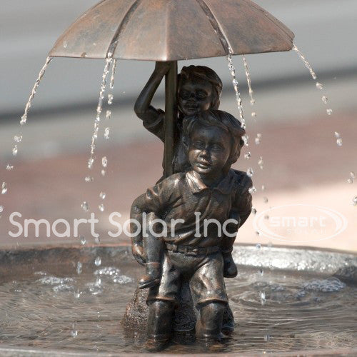 smart solar umbrella boy u0026 girl piggyback solar bird bath fountain