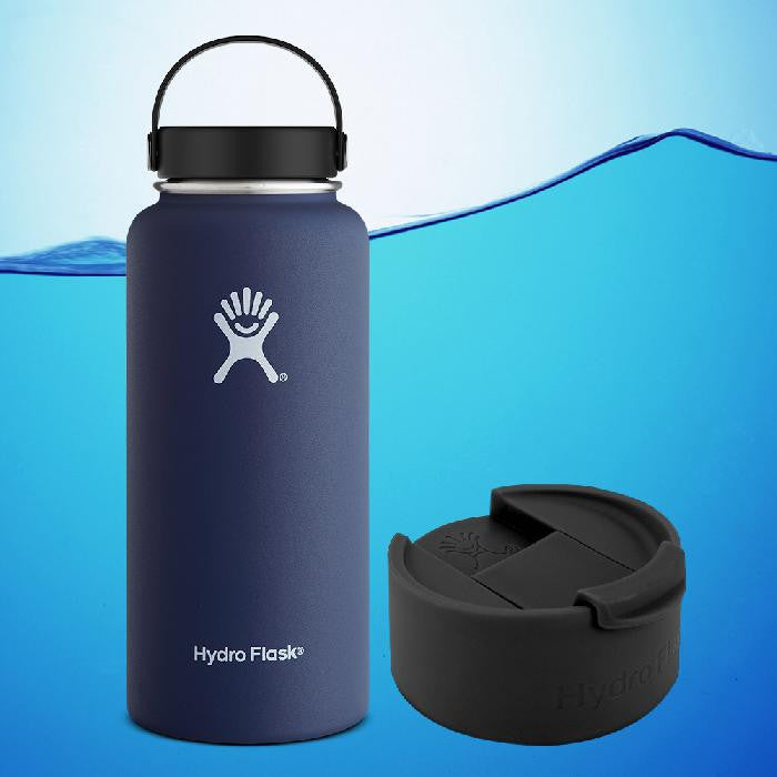 Hydro Flask 32 Oz Insulated Stainless Steel Water Bottle Cobalt Blue With Flex Cap + Flip Cap
