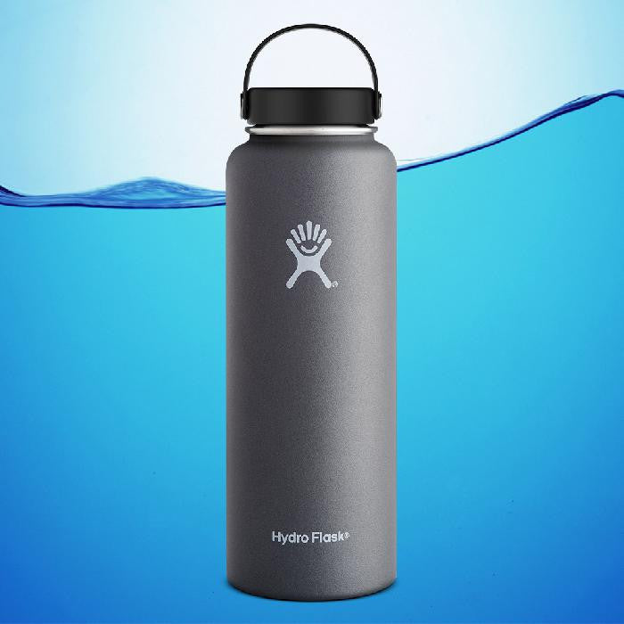 Hydro Flask 40 Oz Wide Mouth Insulated Water Bottle Graphite Grey With Flex Cap