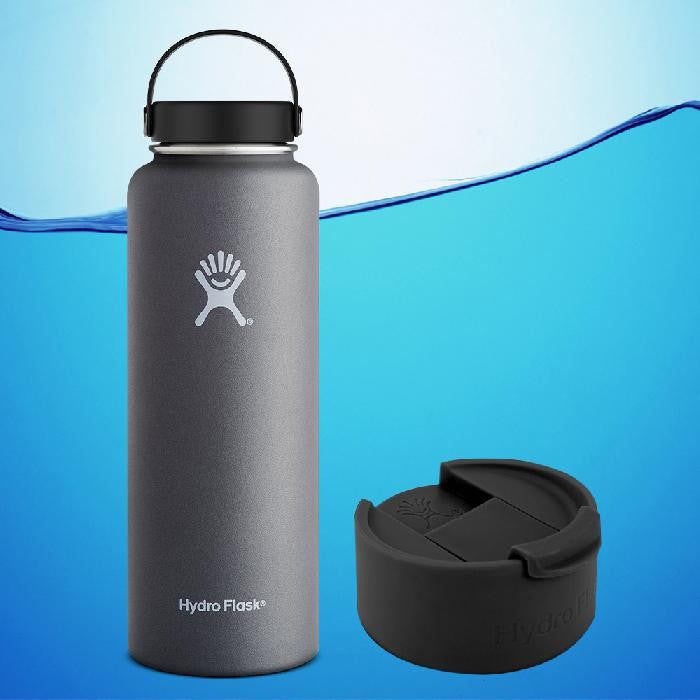 Hydro Flask 40 Oz Wide Mouth Insulated Water Bottle Graphite Grey With Flex Cap + Flip Cap