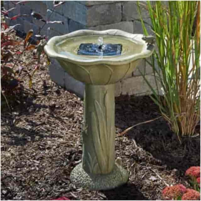 Smart Solar Acadia Solar Bird Bath Fountain - Weathered Stone