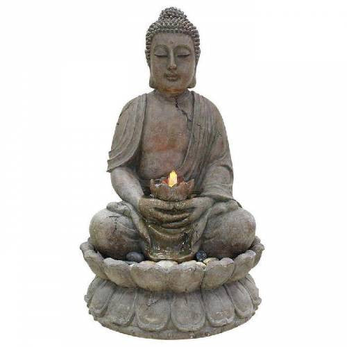 Alpine Buddha Serenity GEM122 Indoor Outdoor Zen Water Fountain With LED Lights