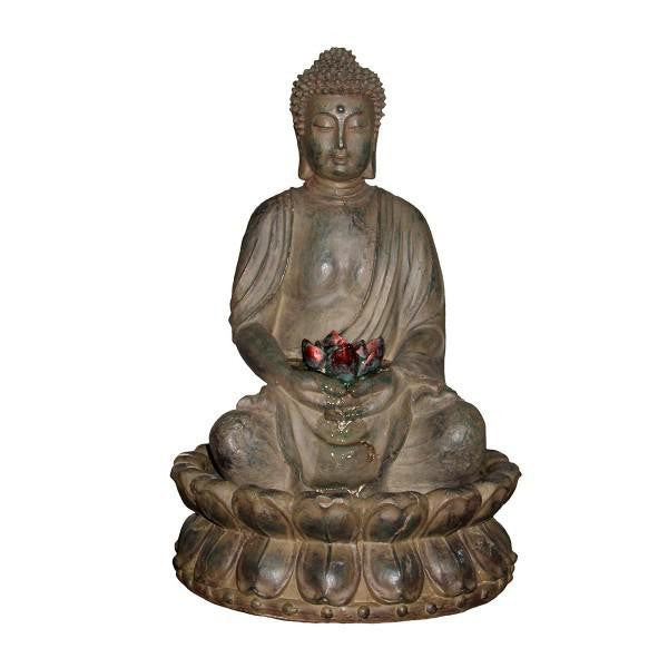 Alpine Buddha Serenity GEM178 Tabletop Indoor Outdoor Zen Water Fountain With LED Lights