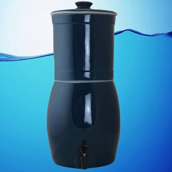 Aquacera Aquavas Blue Stoneware Gravity Fed Water Filter Purifier With (2) Aquametix QuickDrip Filters