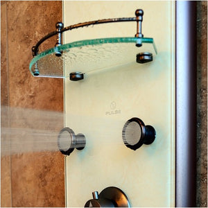 PULSE ShowerSpas 1040 Barcelona ShowerSpa White Venetian Glass Shower Panel