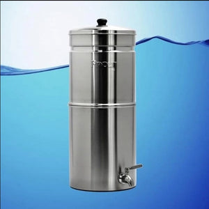 Propur Big Plus Brushed Stainless Gravity Fed Fluoride Water Filter Purifier With (3) 9 inch ProOne G2.0 Filters