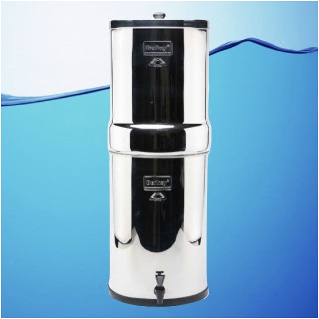 Crown Berkey Gravity Fed Stainless Steel Water Filter Purifier With 8 Black Berkey Filters