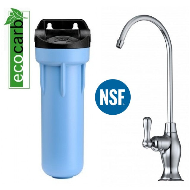 Eco Carb Plus Under Sink Fluoride Water Filter Purifier With Designer Brushed Nickel Faucet