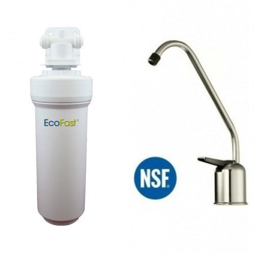Aquacera EcoFast XL EF300 Direct Connect Under Sink Filter System With Brushed Nickel Faucet