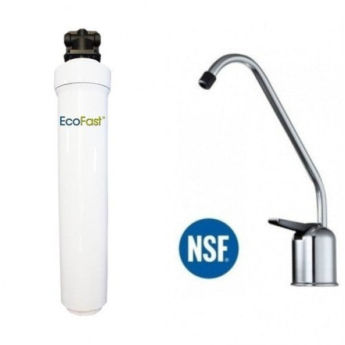 Aquacera EcoFast XXL EF500 Direct Connect Under Sink Filter System With Brushed Nickel Faucet
