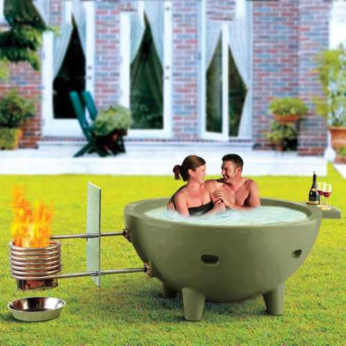 Alfi Fire Hot Dutch Tub Outdoor Wood Fired Hot Tub - Olive Green - WaterCheck.biz
