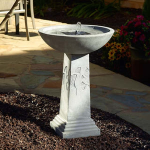 Smart Solar Gingko Solar Bird Bath Fountain - Weathered Stone