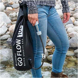 HydroBlu Go Flow Versa Flow Gravity Water Filter Bag + Carbon Filter Package