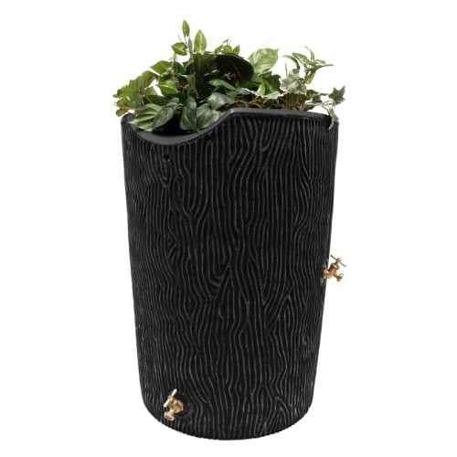 Good Ideas Impressions Bark 50 Gallon Rain Saver Barrel - Black - WaterCheck.biz