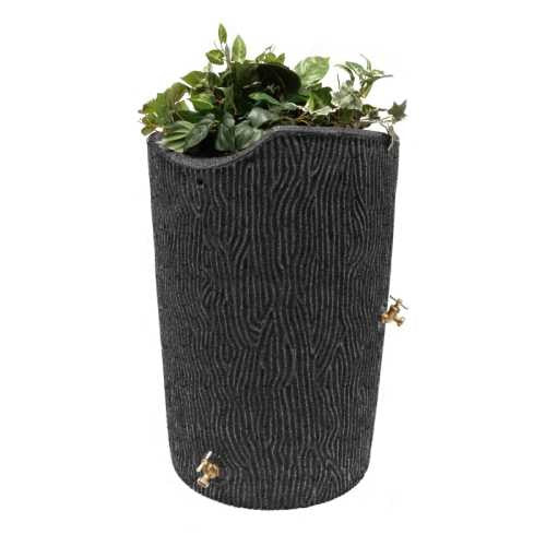 Good Ideas Impressions Bark 50 Gallon Rain Saver Barrel - Dark Granite - WaterCheck.biz