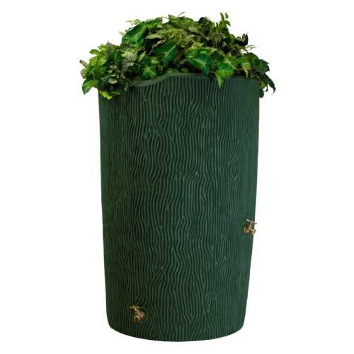 Good Ideas Impressions Bark 50 Gallon Rain Saver Barrel - Forest Green - WaterCheck.biz