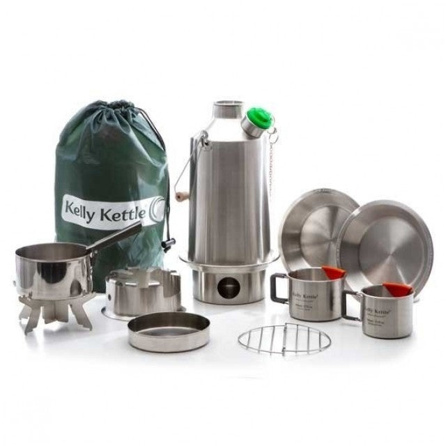 Ultimate Kelly Kettle Stainless Steel Camping Water Kettle Base Camp Kit Large