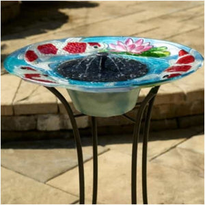 Smart Solar Koi Solar Bird Bath Fountain with Metal Stand - Hand Painted Glass