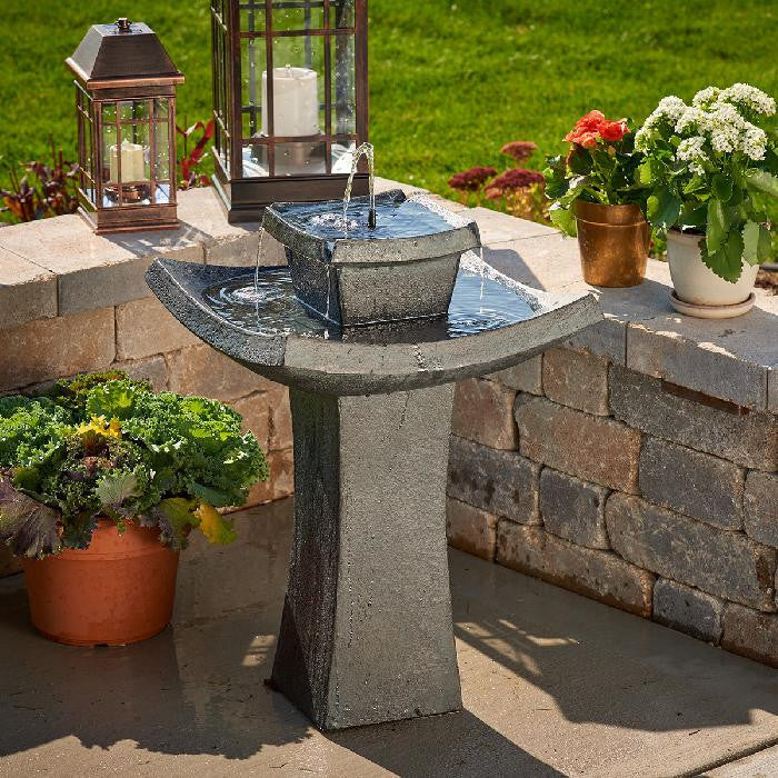 Smart Solar Mahayana 2-Tier Solar On Demand Bird Bath Fountain - WaterCheck.biz