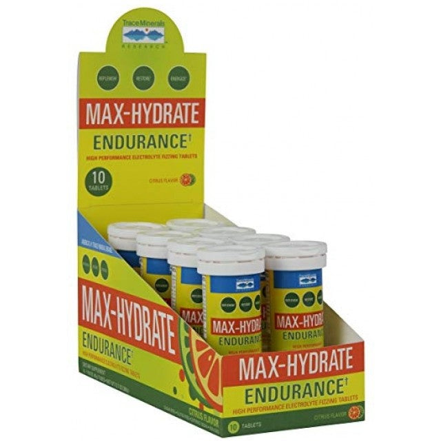 Max Hydrate Electrolyte Drink Tabs - Endurance - 8 Tubes - 10 Tabs Each
