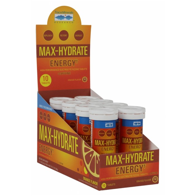 Max Hydrate Electrolyte Drink Tabs - Energy - 8 Tubes - 10 Tabs Each