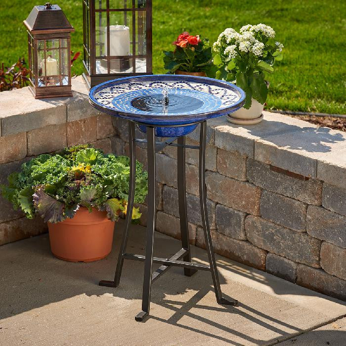 Smart Solar Mosaic Solar Bird Bath Fountain with Metal Stand - Glazed Ceramic - WaterCheck.biz