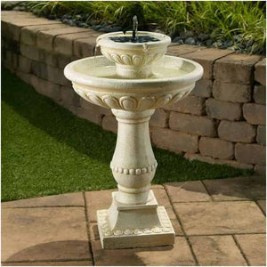 Smart Solar Palermo 2-Tier Solar On Demand Fountain - Antique White