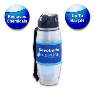 Seychelle 28 Oz pH2O Pure Alkaline Water Filter Bottle Flip Top