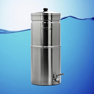 Propur Big Plus Brushed Stainless Gravity Fed Fluoride Water Filter Purifier With (2) 9 inch ProOne G2.0 Filters