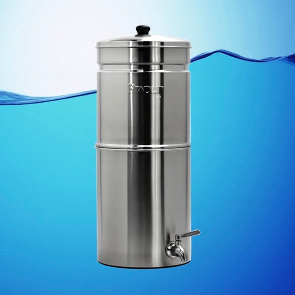 Propur Big Brushed Stainless Gravity Fed Fluoride Water Filter Purifier With (3) 7 inch ProOne G2.0 Filters