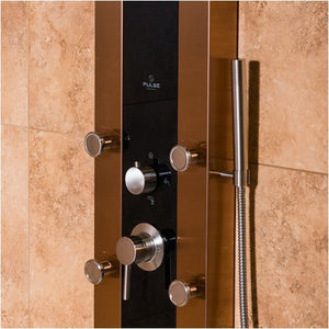 PULSE ShowerSpas 1049B-BN Rio ShowerSpa Bronze Stainless Steel Black Glass Shower Panel