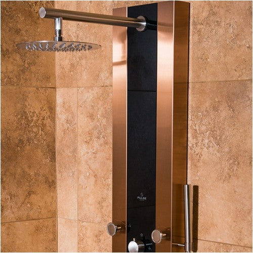 PULSE ShowerSpas 1049B BN Rio ShowerSpa Bronze Stainless Steel Black Glass  Shower Panel